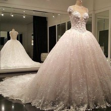 Vestido de noiva 2015 Ball Gown Lace Wedding Dress Cathedral Train Wedding Bridal Gown Custom Made(China (Mainland))