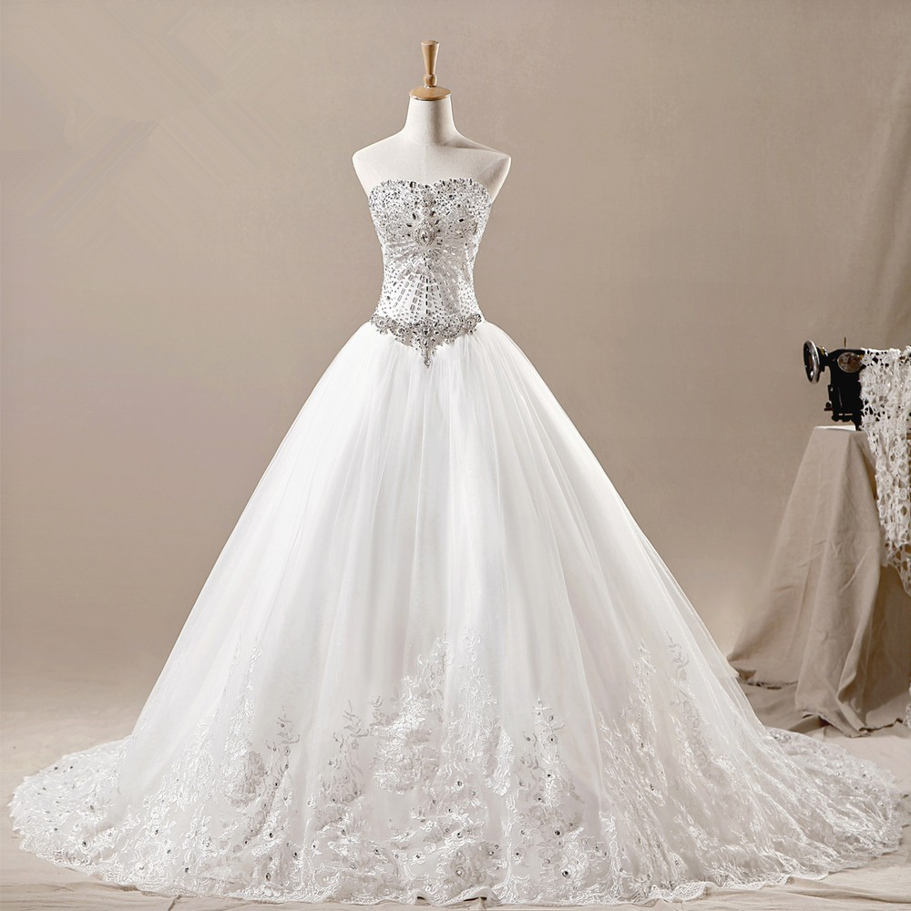 Ball gown luxury crystal wedding dresses 2015 vestidos de for High low ball gown wedding dress