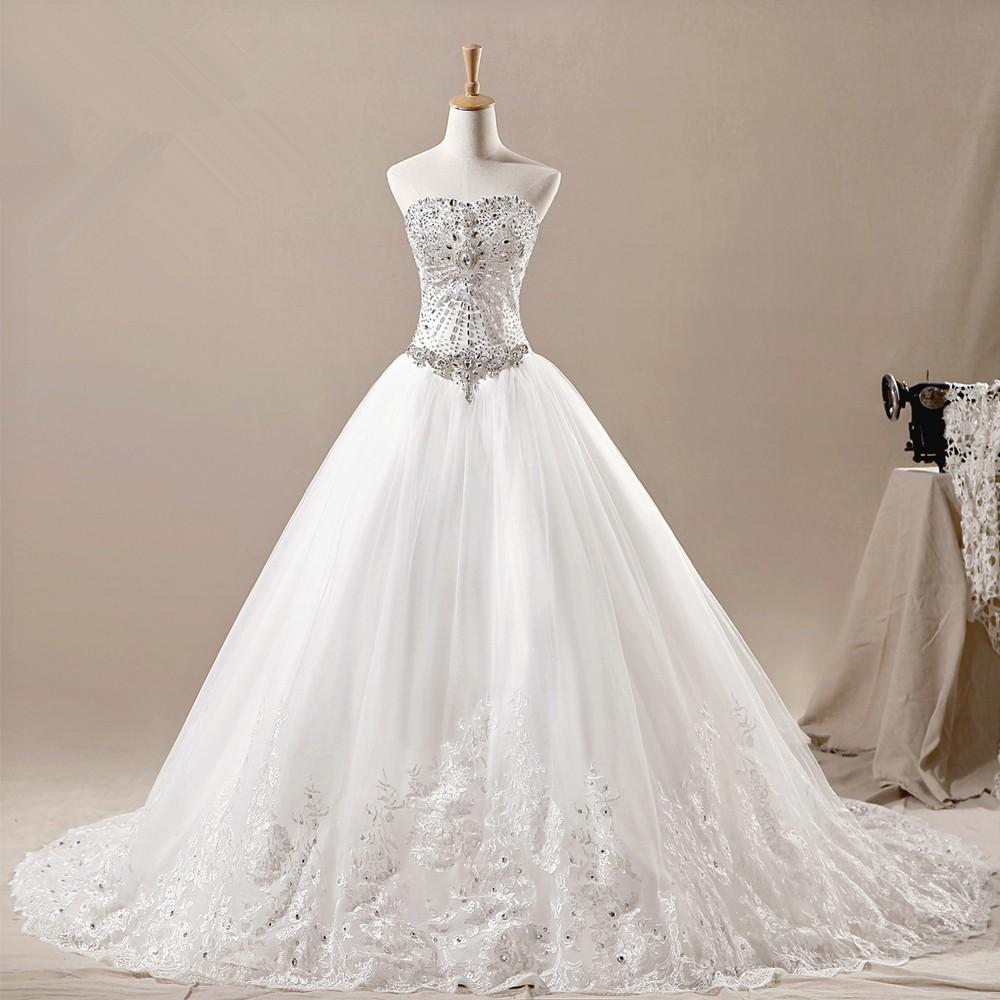 Ball gown luxury crystal wedding dresses 2015 vestidos de for Wedding dresses with crystals beading