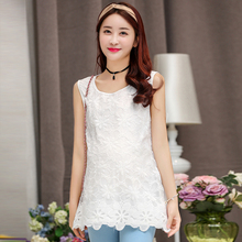 3111# Sleeveless Lace Maternity Dress Loose Clothes for Pregnant Women Summer Floral Pregnancy Clothing White O-neck Tank Dress(China (Mainland))
