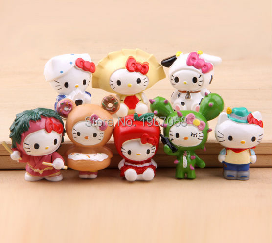 8pcs/set 4cm Japanese Anime Figures little Hello Kitty Cute Pvc Cartoon Action Figures Hot Collection Mode toys gift for kids