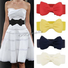 1 PCS 2015 Fashion Sweet Women Bowknot Elastic Bow Wide Stretch Buckle Waistband Waist Belt(China (Mainland))