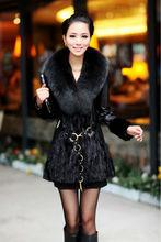 Real genuine leather sleeve black patched long Mink fur coat jacket garment clothing overcoat coat plus size(China (Mainland))