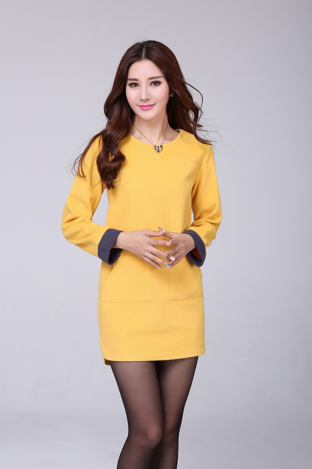 Plus size yellow dress with sleeves
