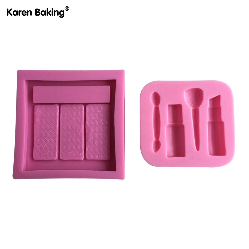 One Set Makeup Tools And Eye Shadow Design Fondant Cake Molds Tools Soap Chocolate Mould Bakeware -C449(China (Mainland))