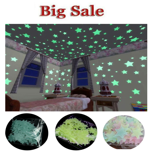 100Pcs/Set Kids Bedroom Beautiful Fluorescent Glow In The Dark Stars Wall Stickers Baby Rooms Sticker Home Decoration