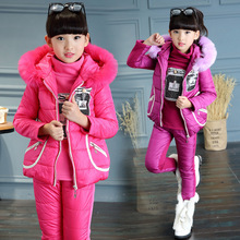 2016 Winter girls water bottles pattern solid color three-piece suit children warm down clothing coat(China (Mainland))