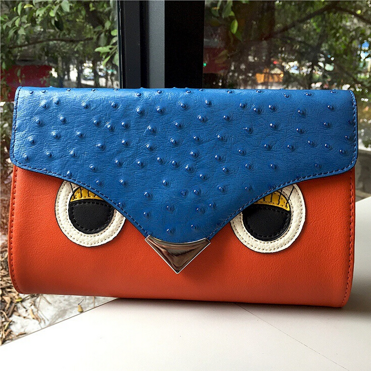 Free shipping 2016 Women's Leather Shoulder Bag first layer genuine leather envelope bag, bird head design ostrich pattern bags(China (Mainland))
