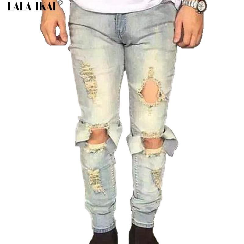 New Jeans Slim Fit Skinny Hole Men Biker Denim Jeans Ripped Distressed Hip Hop Hype Kaney West Clothing Famous Brand KMB0028-4.5Одежда и ак�е��уары<br><br><br>Aliexpress