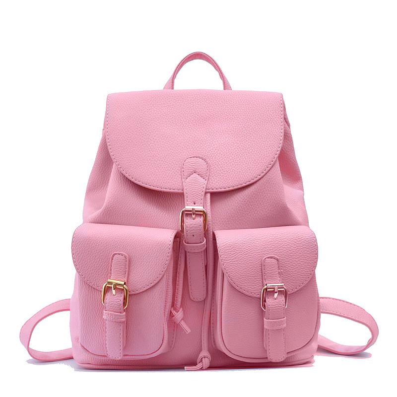 Women Leather Backpacks 2016 Candy Color leather Backpacks for girls' Leather Back bags Solid Leather Bags