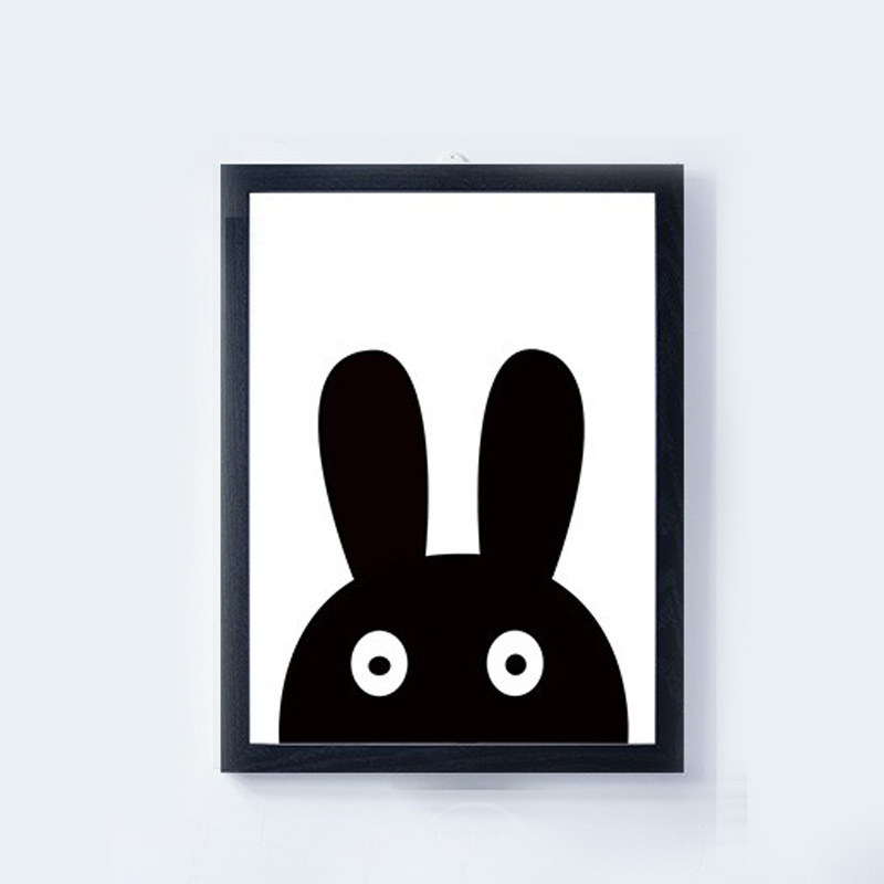 Nordic Black White Cartoon Animals Rabbit Canvas Printing A4 Art Oil Print Poster Kids Bedroom Wall Picture Home Decor No Framed