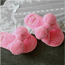 flat butterfly knot indoor solid furry slippers flip flops women platform faux plush winter fuzzy house home with fur s139(China (Mainland))