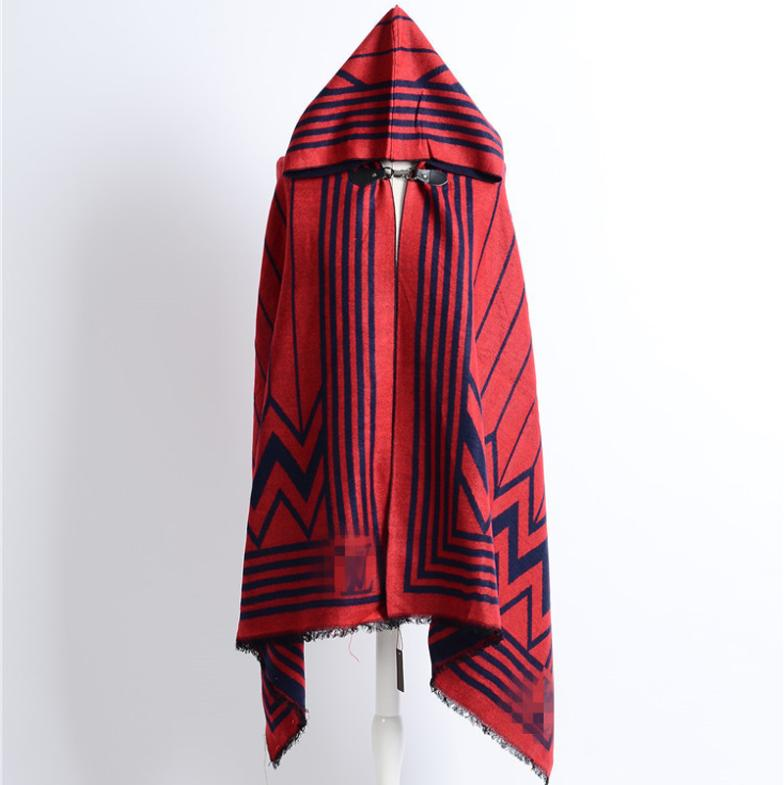 Brand Cape Scarf Female Stripes Cashmere Warm Women Scarves Winter Hooded Ponchos and Capes Pashmina Fashion European Shawl New(China (Mainland))