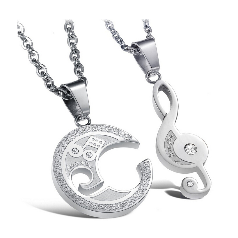NIBA JEWELRY Lovers' STAINLESS STEEL Necklace Puzzle Music Note Pendant Necklace Unique Design,1 Pair Price(China (Mainland))