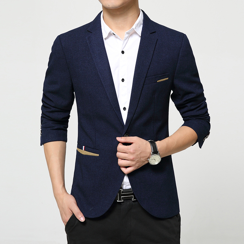 Mens fashion slim fit suit korean jacket Blue Black Red blazer Male casual single breasted plus size 4XL 5XL - Anmony Fashion Garment store