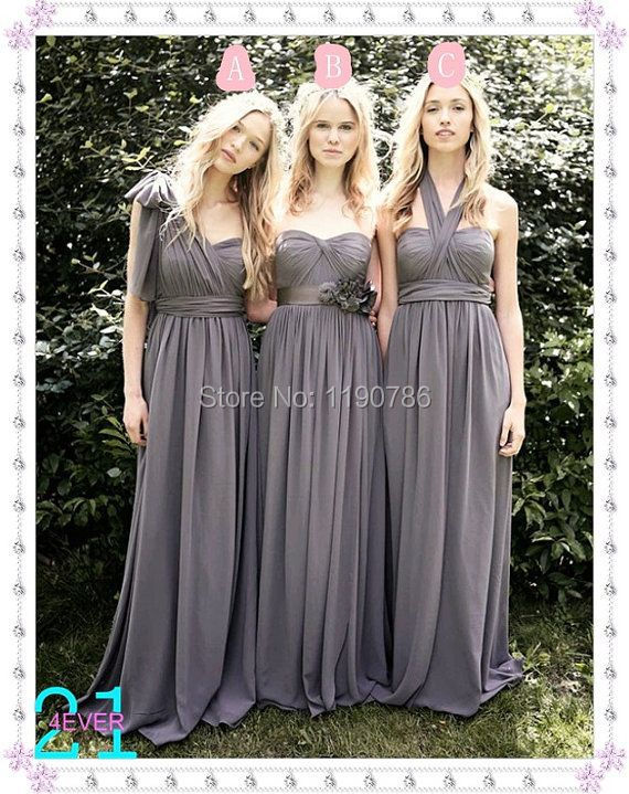 Grey chiffon long bridesmaid dresses with flowers wedding for Cheap formal dresses for wedding guests