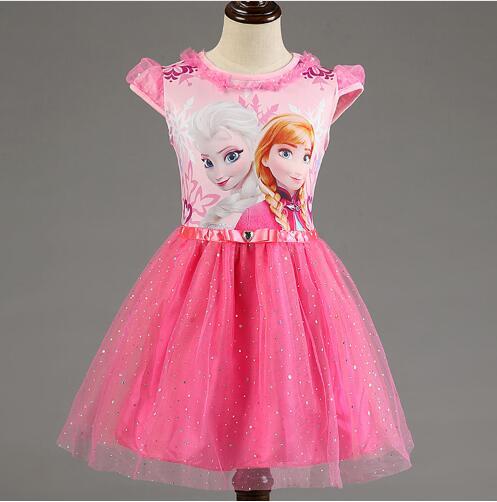 Elsa Dress 2016 Elsa Anna Girls Dress Cosplay Party Kid Dresses Princess Children Clothing Baby Kids Vestidos Toddler Girl Dress(China (Mainland))