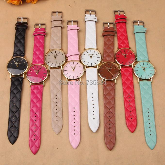 Wholesale 500pcs/lot Mix 9Colors New Geneva Ladies Colored Dial candy colors casual fashion unisex leather watch GW195<br><br>Aliexpress