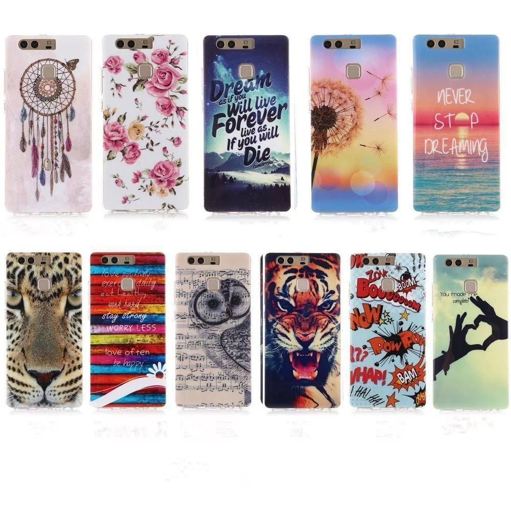 Soft TPU Relief Tiger Lion Cases Huawei P9 Silicon Night Owl Back Cover Lite  -  life's good store