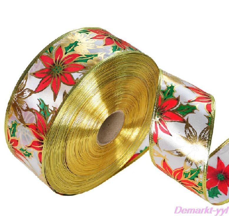 Hot-selling 2m Golden Edge Red Flower Printed Chrismas Ribbon Home Garden Festive Evening Party Ornament Christmas Decoration(China (Mainland))
