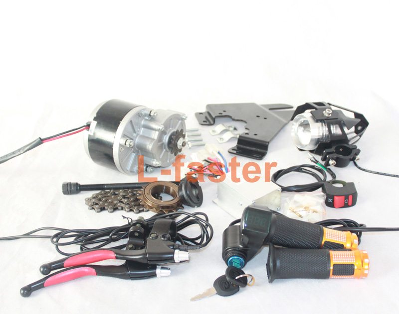 24V ECONOMIC ELECTRIC BICYCLE CONVERSION KIT WITH HIGH LIGHT LED LENS HEADLIGHT HANDLE BAR WITH BATTERY INDICATOR AND KEY SWITCH(China (Mainland))