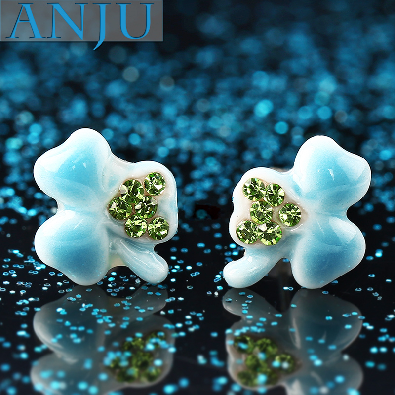 Chinese ceramics plus crystal earrings,flower shape,blue crystal,ceramic materials,fine jewelry,selling models,affordable gift(China (Mainland))