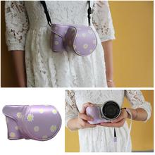 Purple Daisy Floral PU Leather Men Women Waterproof Camera Bag Insert Case Pouch Fit Sony NEX-5R 5T 3N A6000 A5000 A5100 16-50 - Roadfisher store