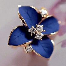 2016 new elegant noble blue flower ladies gold plated rhinestone earrings piercing Brinco women free shipping E5(China (Mainland))
