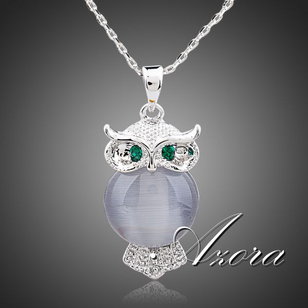AZORA A Bird of Minerva Platinum Plated Stellux Austrian Crystal Jewelry Pendant Necklace TN0098