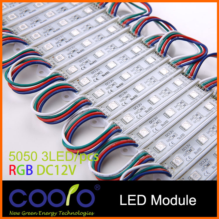 20PCS/Lot LED 5050 3 LED Module 12V waterproof RGB Color changeable led modules lighting,Free shipping(China (Mainland))