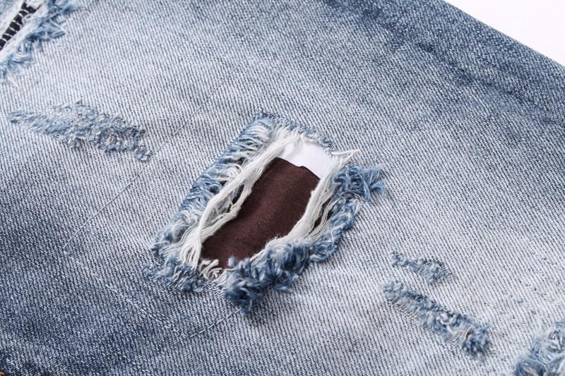 Скидки на 18 стиль 2016 новых Осенью и зимой Высокого качества Джинсы мужчин марка мужские брюки отверстие моды кошка должна быть Вода Для стирки