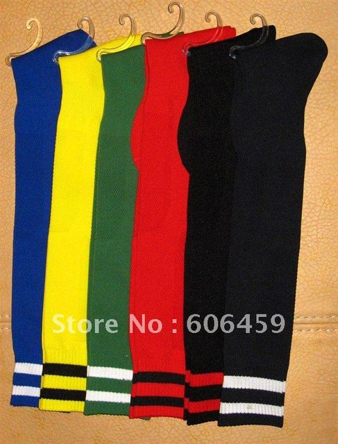 Red black blue yellow green Long Sock good Quality Soccer Socks