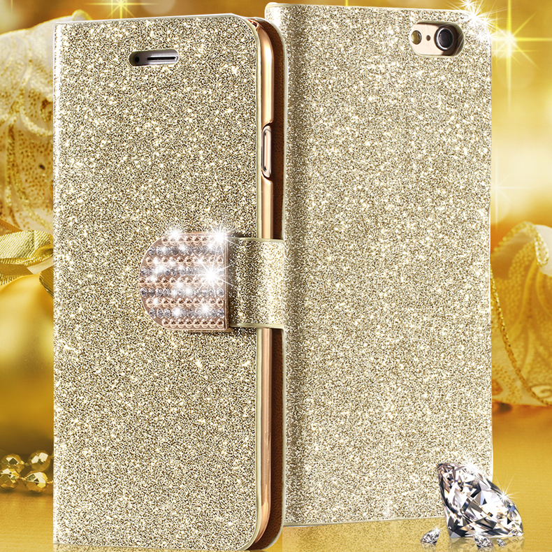 Glitter Golden Bling Sand Leather Case For Apple iphone 6 6S /Plus 5.5 Wallet Stand Card Holder Rhinestone Diamond Cover For 5S(China (Mainland))