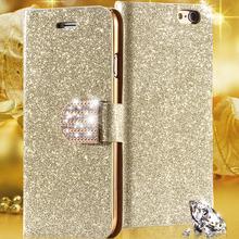 Блеск золотой шику песок кожаные чехол для Apple , iphone 6 6 S / плюс 5.5 держатель кошелек стенд карты горный хрусталь алмаз для 5S