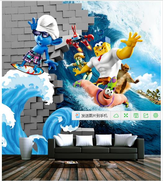 sponge 3d cartoon murals wallpaper for kids child room 3d nickelodeon spongebob wall mural walmart com