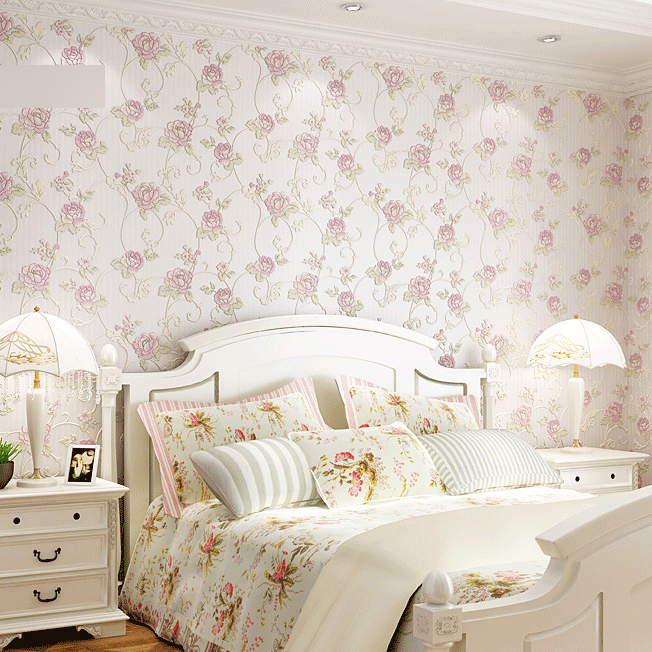 Buy free shipping embossed 3d wallpaper flower bedroom living room of floral - Flower wall designs for a bedroom ...