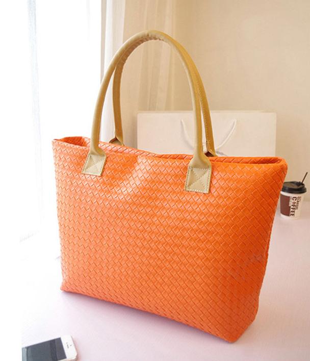 New big weave casual women shoulder bag fashion brand leather girls handbag candy color lady totes designer women bag wholesale(China (Mainland))