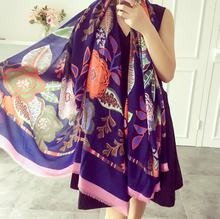 2016 new scarf spring summer women's Design Print scarf long shawl printed cape Polyester chiffon tippet muffler Scarves(China (Mainland))