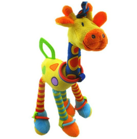 candice guo! new arrival cute colorful giraffe baby toy bad hang multipurpose placate toy with BB instrument teether 1pc(China (Mainland))