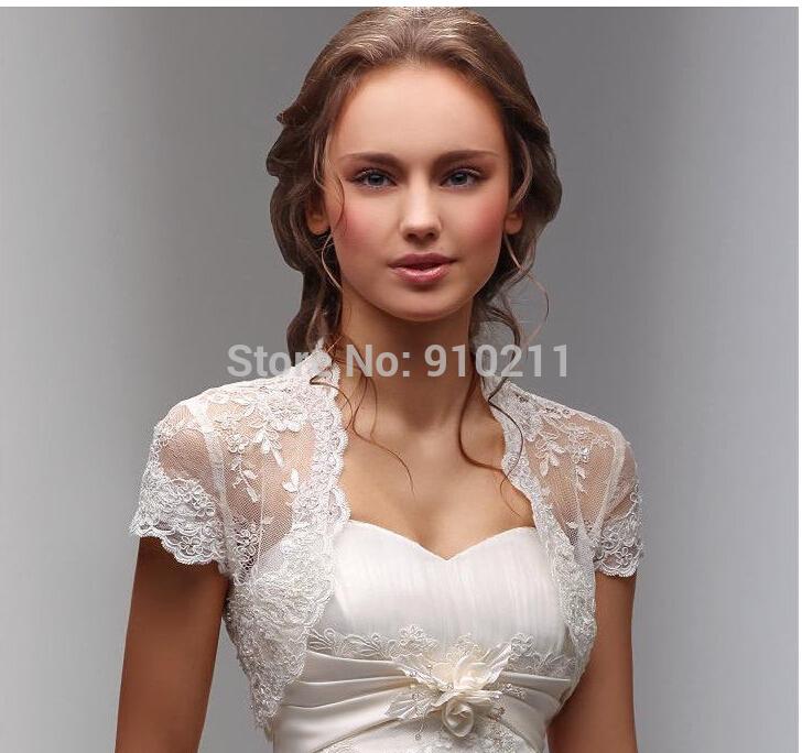 New Fancy Wedding Shawl Short Sleeves White Ivory Wedding Jacket Lace Bolero Bridal Wrap Custom(China (Mainland))