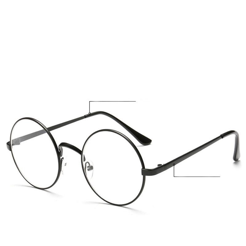 chic eyeglasses retro big round metal frame clear lens glasses nerd spectacleschina mainland