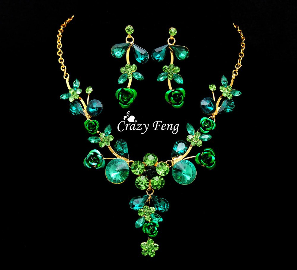 Crazy Feng New Women 18k Yellow Gold Filled Austrian Crystal Necklace Earrings Wedding Jewelry Sets Christmas gift Free shipping(China (Mainland))