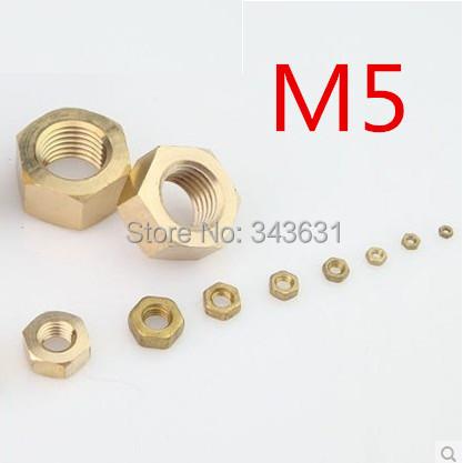 High Quality  DIN934   M5  Brass  Hex Full Nuts METRIC  (500pcs)<br><br>Aliexpress