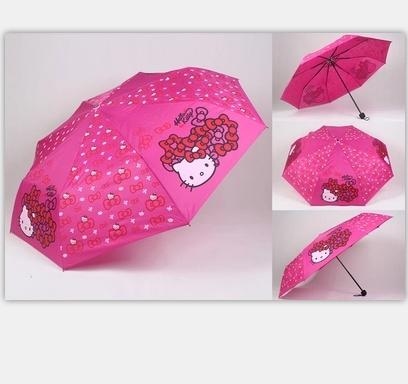 Creative umbrella Hello kitty folding umbrellas female super sun umbrella Anti UV umbrella Free Shipping(China (Mainland))