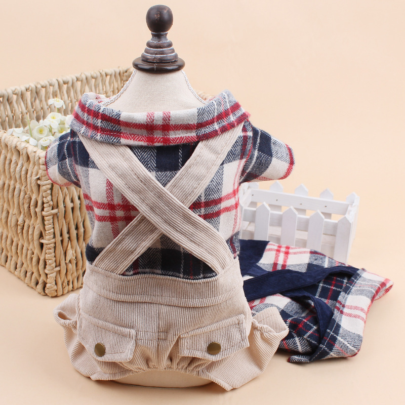 2015 new pet dog clothes font b plaid b font pants corduroy hot sale Free Shiping