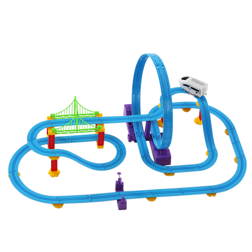 Hot Sale Rail Car Track Racer Kids Toys Racing Car Electric Track Battery Powered Rail Car DIY Toy Set for Children(China (Mainland))