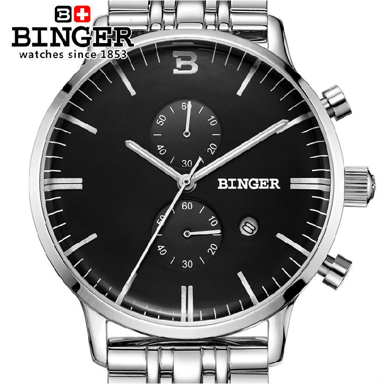 BINGER brand quality goods men quartz ran second timing precision steel business fashion leisure 200 m waterproof wrist watch<br><br>Aliexpress