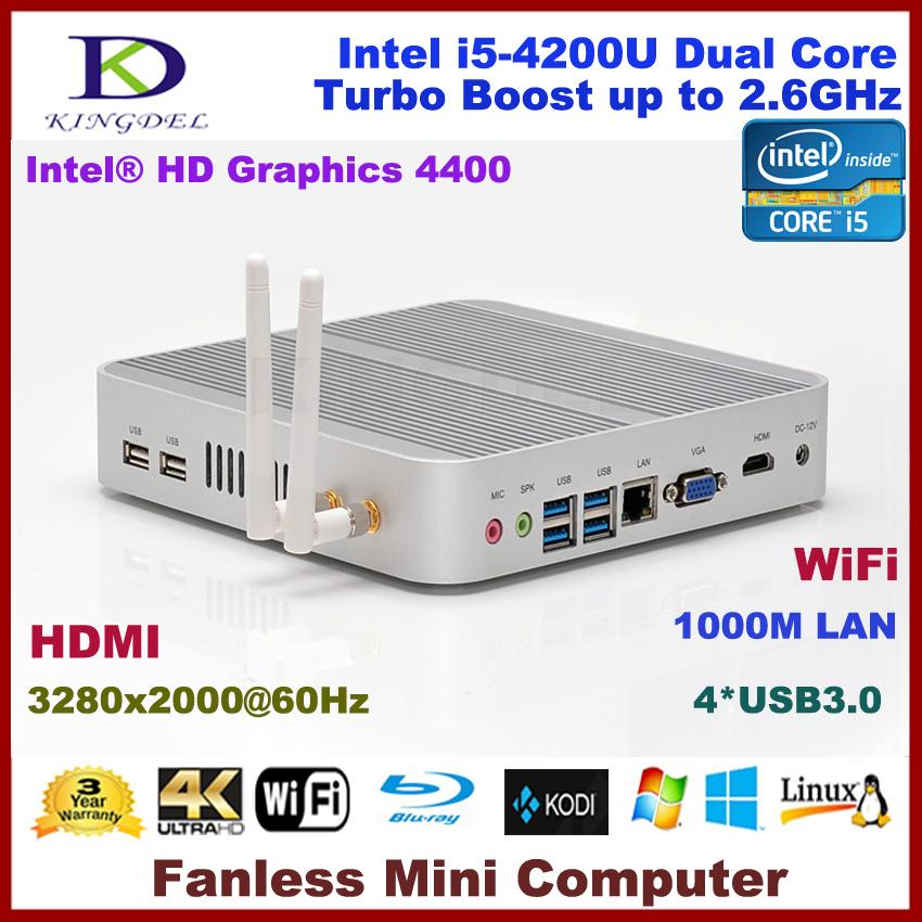 Fanless Thin Client PC, Mini Computer with 4GB RAM, 64GB SSD+640GB HDD Intel i5-4200U Dual Core 2.6Ghz, WiFi, HDMI, 4*USB 3.0(Hong Kong)