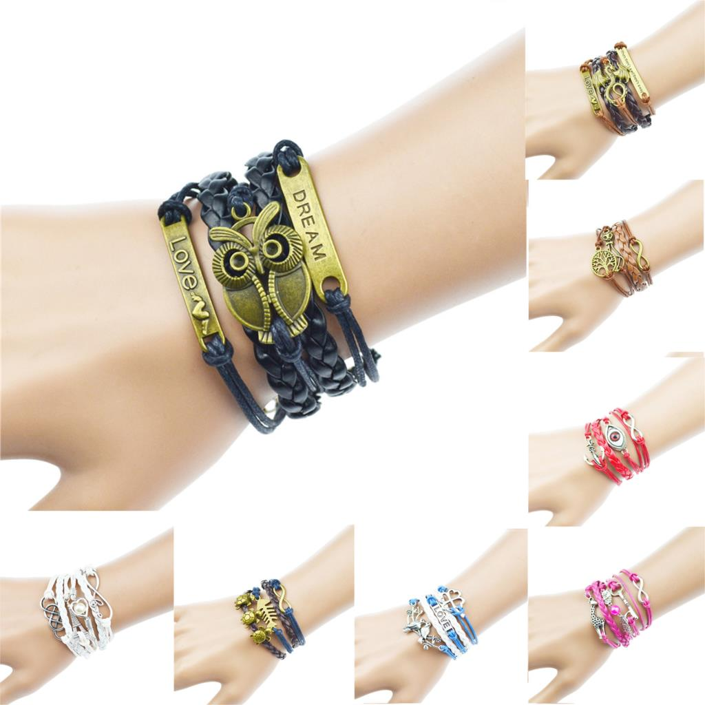 2015 Multilayer Braided Bracelets , Vintage Owl Dragon Wings Infinity Charm Bracelet, Multicolor Woven Leather Bracelet & Bangle(China (Mainland))