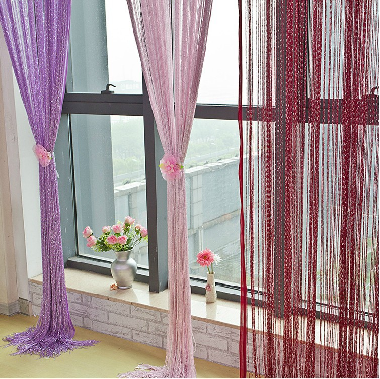 Free shipping, 100 * 200cm line curtain, indoor upscale decor silver silk curtain hotel bedroom, curtain, multicolor optional(China (Mainland))